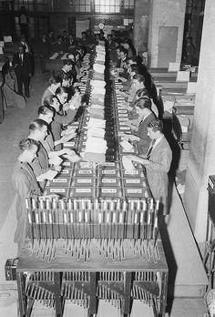 Mail sorting, Lisbon, Portugal