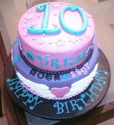 Rock star birthday cake - mother/daughter collaboration!  Two tiers, fondant icing, gum paste letters and shapes.
