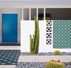 Bright blue front door