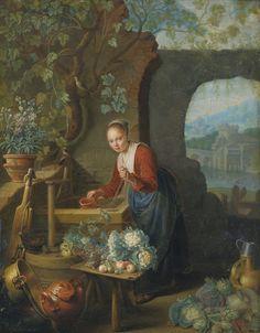 https://flic.kr/p/qc5Jce | 17th C. Dutch School - A YOUNG WOMAN DRAWING WATER FROM A WELL. circa 1700