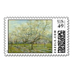 White Orchard by Vincent Van Gogh Postage Stamps