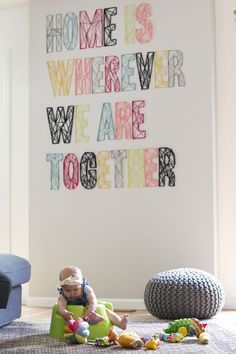 27+ DIY String Art Projects: Home Is Wherever We Are Together String Art from A Beautiful Mess