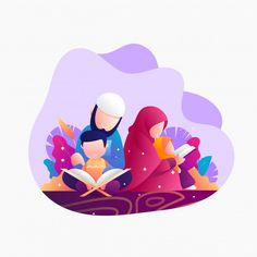 Reading quran at nigth ramadhan illustration Premium Vector Love Cartoon Couple, Girl Cartoon, Cartoon Art, Family Illustration, Digital Illustration, Graphic Illustration, Islamic Posters, Islamic Art, Quran Book