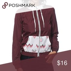 Empyre Tribal Windbreaker Jacket Don't let the weather get in the way of your style and grab this lightweight windbreaker jacket that features a solid burgundy body accented w/ a tribal print hood & pocket. This jacket is perfect for all occasions – it features an adjustable drawstring hood, zipper front closure, 2 front hand pockets, elastic cuffs & hem, & is 100% polyester. Colors in the pattern are blush, lavender, dark pink, white, burgundy, teal and light blue. Brand new condition. I'm…