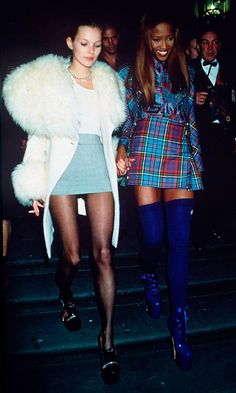 Kate Moss and Naomi Campbell.  http://www.dazeddigital.com/fashion/article/18032/1/top-10-early-kate-moss-moments