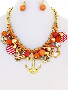 Chunky Orange Peach Rope Gold Tone Nautical Anchor Charm Necklace & Earrings Set #Charm