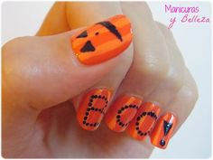 #manisdehalloween #calabazas #halloweennailart Nail art with pumpinks for Halloween boo nails orange // Manicura con calabazas en naranja uñas divertidas