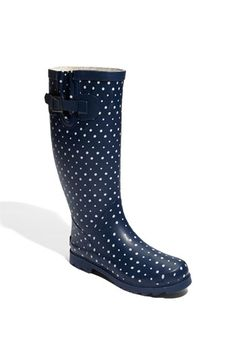 Two of my favorite things, polka dots and rain boots.