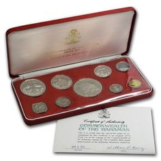1974 Commonwealth of the Bahamas Proof Set - 9 Coins - COA & OGP