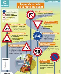 Fiche exposés : Apprends le code de la route en jouant For more advanced French students to learn how to read street signs they might find in a French city. Ap French, Core French, French History, Learn French, French Teacher, Teaching French, French Classroom, French Resources, Driving School