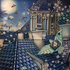 完成しました💙☺️ #色縛りの町おこし 〜Blue city〜 #thenightvoyage #thenightvoyagecoloringbook #dariasong #ダリアソン #dariasongcoloringbook #thepresentcoloringbook #コロリアージュ #大人の塗り絵 💠ブルーの街 夜にしました🌃 折り鶴を逆光のイメージで💙 星は、白抜き後薄いブルーをのせてます😅✨ 1番難しかったのは、夜空を色鉛筆でグラデーションにした所です🌃 💠フォロワー500人超‼️ ありがとうございます😭💞💞💞 塗り絵が出来ることの幸せ💗 皆さまと塗り絵を通して繋がれた事の幸せ💞 感謝致します💖 Song Night, Colored Pencil Tutorial, Coloring Tips, Polychromos, Coloured Pencils, Color Pencil Art, Relax, Coloring Book Pages, Prismacolor