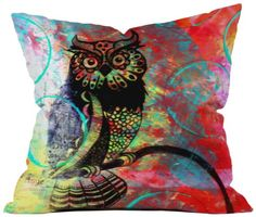 DENY Designs Sophia Buddenhagen Color Owl Throw Pillow, 20-Inch by 20-Inch