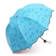 Flores mágicas Das Mulheres Chuva Guarda-chuva Multi-Função 3 Floding Anti-UV Guarda-chuva Sombra Senhora Princesa Dome Parasol Paraguas Mujer(China (Mainland))