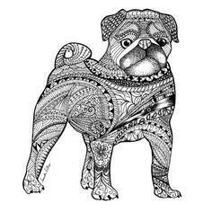 Zentangle Pug drawing Art Print