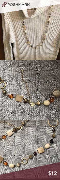 Premier Designs necklace Beautiful Premier Designs necklace. Excellent condition only worn a couple times. Gold tones, ivory, Browns, So Versatile! Jewelry Necklaces