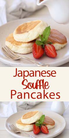 Fun Baking Recipes, Brunch Recipes, Breakfast Recipes, Cooking Recipes, Pancake Recipes, Crepe Recipes, Waffle Recipes, Japanese Souffle Pancake Recipe, Japanese Pancake