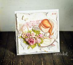 Mój kolorowy świat: Dziewczęce kartki komunijne.