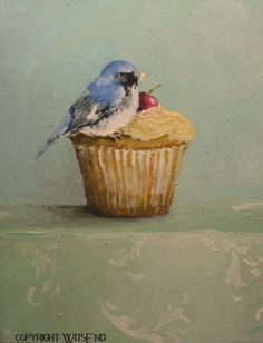 """THE UNEXPECTED GUEST' Bird cupcake painting  original art  ooak FREE usa shipping. by WitsEnd available on Etsy."