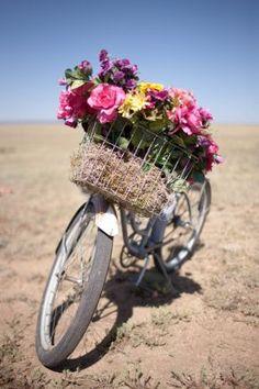 Vintage Bike with Basket of Flowers