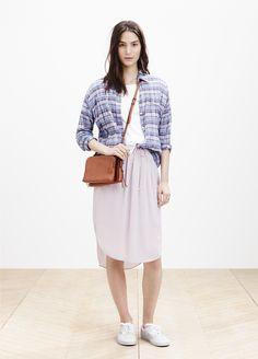 Madewell plaid shirt worn with the Sun-Garden skirt + twin-pouch crossbody. #springmadewell