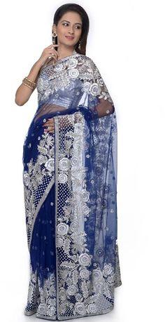 Blue and Silver Sari  designer saree  couture sari