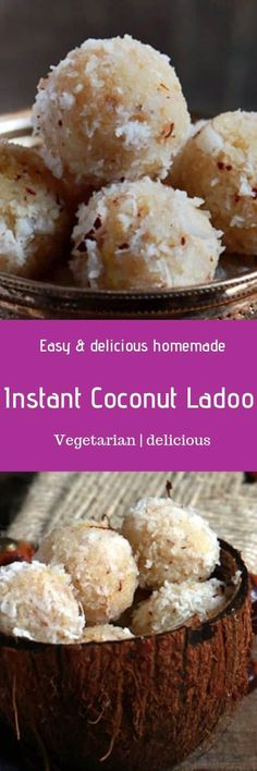 Coconut ladoo recipe- learn to make delicious, soft melt in mouth coconut ladoo or nariayl ladoo in four ways with this step by step recipe. Sweets Recipes, My Recipes, Real Food Recipes, Cooking Recipes, Favorite Recipes, Coconut Ladoo Recipe, Condensed Milk Recipes, Indian Sweets, Siberian Tiger