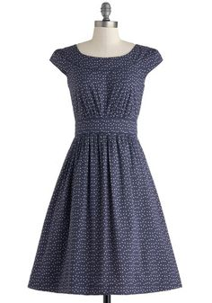 Day After Day Dress in Blue Dots by Emily and Fin - Blue, White, Polka Dots, Pockets, Casual, A-line, Cap Sleeves, Scoop, Spring, Variation, Long, Cotton, Pink