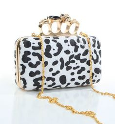 $42.95 LEOPARD CLUTCH WITH RHINESTONE SKULL RING CLOSURE  From G2 CHIC   Get it here: http://astore.amazon.com/ffiilliipp-20/detail/B007RPWAC2/187-9866575-9033818