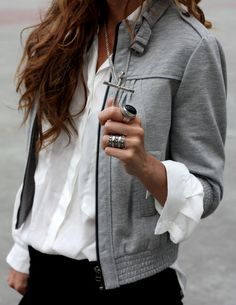 gray jacket, white top, black pants, silver/black chunky jewelry, cross pendant ♥