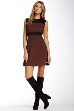 Executive Brown and Black Colorblock Dress by vfish