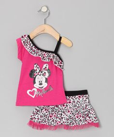 Take a look at this Pink Leopard Asymmetrical Ruffle Top & Skirt - Infant & Toddler by Minnies Bow-Tique on #zulily today!