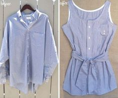 DIY Men's Shirt Refashion --> Love this! Check out old shirts in thrift stores & Dad's old stuff! Old Clothes, Sewing Clothes, Diy Kleidung, Diy Vetement, Old Shirts, Refashioning, Diy Shirt, Sweatshirt Refashion, Diy Clothing