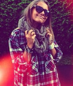 plaid shirt, scarf, wayfarers