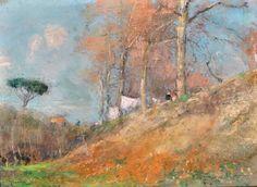 Casciaro Giuseppe (Ortelle, LE 1863 - Napoli 1941) Panni stesi  pastelli su carta, cm 18,5x25