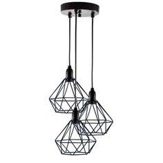 Lustre com 3 Pendentes Aramado Diamante - PRETO - Design Estilo Industrial
