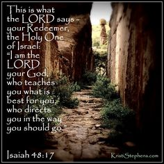 """""""This is what the Lord says---your Redeemer, the Holy One of Israel: 'I am the Lord your God, who teaches you what is best for you, who directs you in the way you should go.' """" -Isaiah 48:17"""