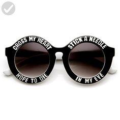 b9608871cddbbb zeroUV - Womens Oversized Cross My Heart Text Font Round Sunglasses (White)  - Fun