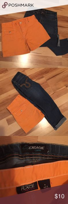 Girls bundle Jordache capri jeans size 8 with adjustable waist orange Children's Place shorts size 8 Bottoms Casual
