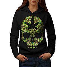 Cannabis Skull Head Pot Skeleton Women NEW Black S-2XL Hoodie | Wellcoda