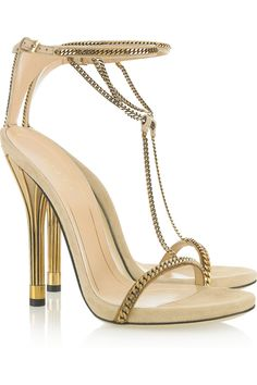 Gucci, Chain-trimmed suede sandals