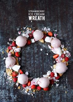 What better dessert centerpiece or platter ornament than a wreath made of ice cream, fruit and crushed waffle cones. #crushedit