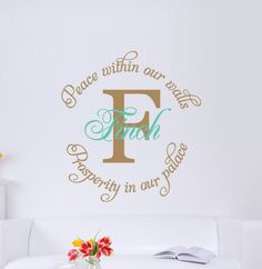 decorating living room wall with initial | Vinyl Wall Decal Monogram With Name, Initial And Quote - Living Room ...