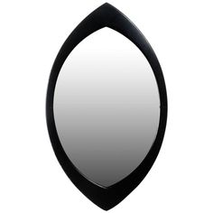 Swedish Mirror by Hans Agne Jakobsson with Black Oval Beveled Wood Frame, 1950s | 1stdibs.com