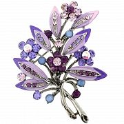 Amethyst Purple Flower Bouquet Pin Swarovski Crystal Pin Brooch and Pendant(Chain Not Included)