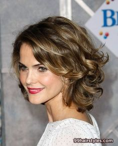 Medium length curly brunette bob haircut with blonde highlights and a side part hairstyle - 99 Hairstyles Ideas