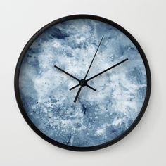 Watercolour Texture Indigo Wall Clock by benjaminblack Wall Clock Wooden, Wall Clocks, Indigo Walls, Watercolor Texture, Watercolour, Hickory Dickory, Sweet Home, Bedroom Decor, Art Deco