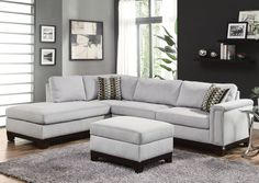 Jennifer Convertibles: Sofas, Sofa Beds, Bedrooms, Dining Rooms & More! Mason Blue Grey Sectional $1319.99