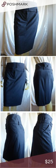 "J. Crew - High Waist Pencil Skirt Charcoal gray pencil skirt with distinctive High waist for a tailored corporate-chic look. Front zip & slide hook closure, belt loops and 4 button high waist. Slash side pockets. Back kick pleat. Buttoned back pockets. Fully lined in charcoal satin. 28/29"" waist, 35"" hips, 25"" long from top of high waist to bottom of hem. Fabric content tag is missing but it feels like lightweight wool with a hint of stretch.  Like New condition J. Crew Skirts"