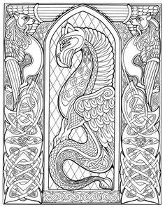 Celtic dragon drawings | Celtic Dragon (pen & ink, outline version)