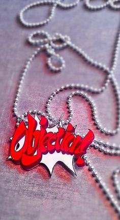 Phoenix Wright-Objection Necklace. $15.00, via Etsy.